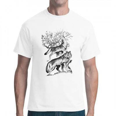 Wölfe, die den Mond anheulen. Cooles Wolfsmotiv für dein T-Shirt.