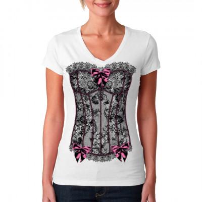 Korsage aus schwarzer Spitze mit rosa Akzenten als waschfester Transferdruck für dein Girlie Shirt.