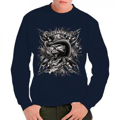 T-Shirtmotiv : Rebel Till I Die Schriftzug mit coolem Totenkopf-Motiv