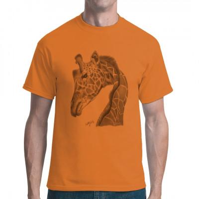 T-Shirt-Motiv : graue Giraffe  Mittels Transfer Siebdruckverfahren aufgebracht. waschfest