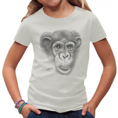 T-Shirt-Motiv : grauer Schimpanse  Mittels Transfer Siebdruckverfahren aufgebracht. waschfest
