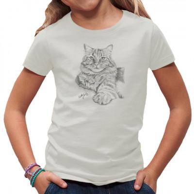 T-Shirt-Motiv : graue Katze  Mittels Transfer Siebdruckverfahren aufgebracht. waschfest