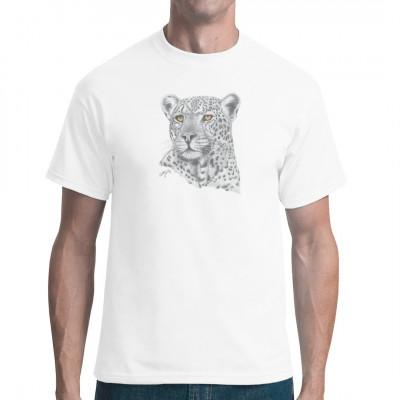 T-Shirt-Motiv : Grauer Leopard  Mittels Transfer Siebdruckverfahren aufgebracht. waschfest