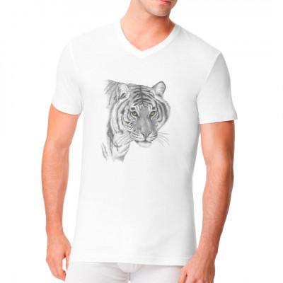 T-Shirt-Motiv : grauer Tiger Stolzes Raubtier für dein T-Shirt, Sweatshirt oder V-Neck