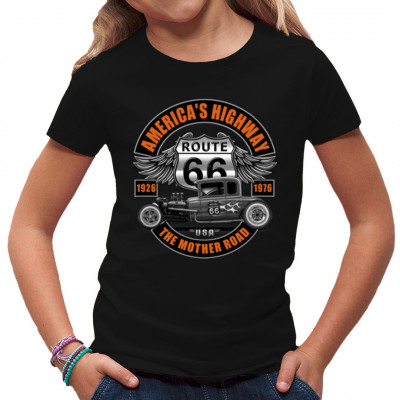 American Highway Hot Rod Route 66 Grauer Hot Rod mit Schriftzug: Route 66 1926 - 1976: The Mother Road  Mittels Siebdruck-Transfer bedruckt, waschfest