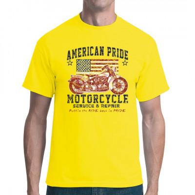 Motive: American Pride Motorcycle Cooles Biker-Motiv im Vintagelook. Perfekt für alle Rocker, die auf schnelle Motorräder und die USA stehen.  Motivgröße: 13x13 Zoll