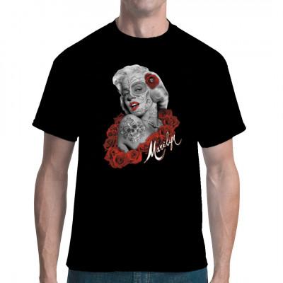 Marilyn Monroe de los Muertos -Bandidos T-Shirt, Tattoo Style, Männer & Frauen, Totenköpfe & Gothic, Biker, Ladys, Musik & Film, Pin Ups, Marilyn Monroe