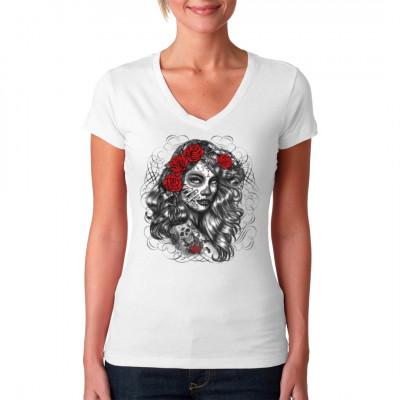 Shirt Motiv: Dia de los Muertos girl  Eine Schönheit, geschminkt im Stile des mexikanischen Tages der Toten.