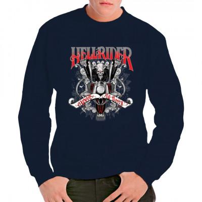 Cooles Biker-Motiv: Hellrider - Expect no mercy  Bei diesem coolen T-Shirt - Motiv wird Gnade weder gewährt noch erwartet. Ein Skelett-Biker aus der Hölle wird euch holen, ihr habt keine Chance ihm zu entkommen.