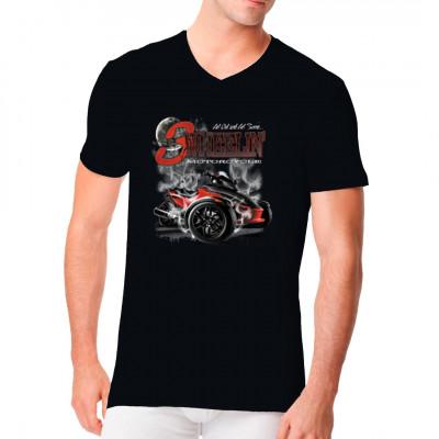 T-Shirt Motiv: 3 wheelin motorcycle  An diesem heißen Trike ist irgend etwas anders... Genau, es hat 2 Räder vorn und nur eines hinten. Dieses Motiv ist angelehnt an das Can-Am Spyder.