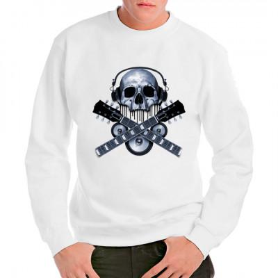 T-Shirt Motiv: Skull with headphones guitar necks speakers  Cooler Totenkopf mit Kopfhörern, Lautsprechern und Gitarrenhälsen. Cooles Rockermotiv für Fans der etwas härteren Musik.