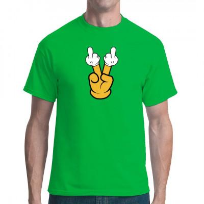 Motiv: Doppelter Stinkefinger   Stinkefinger auf den Fingern. Cooles Fun-Shirt Motiv.