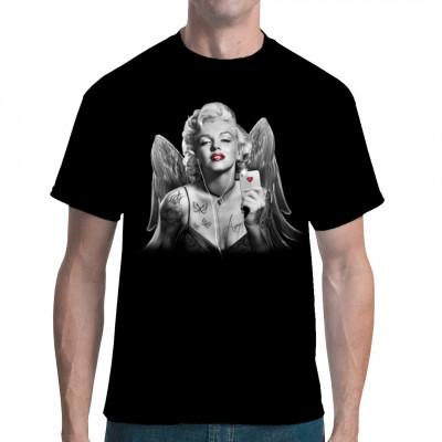 Unsere Marilyn hat technisch aufgerüstet. Obwohl sie Engelsflügel hat, fliegt sie Botschaften nicht mehr persönlich zum Ziel. Statt dessen packt sie ihr brandneues Smartphone aus.