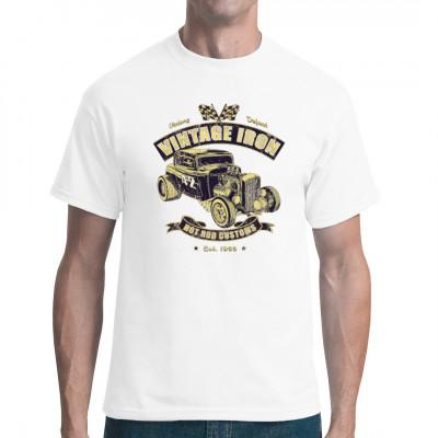 T-Shirt Motiv: Vintage Iron Hot Rod Customs  Ein cooler alter amerikanischer Hot Rod im rostigen vintage Look. Das perfekte Motiv für Fans der alten, getunten Klassiker.