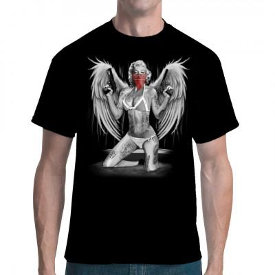 T-Shirt Motiv: Marilyn Monroe - Gangster Style  Marilyn Monroe im coolem gangster Look mit Engelsflügeln.