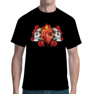 Motiv: Skulls & Flaming Heart Zwei auf Rosen gebettete Totenschädel und ein brennendes Herz in der Mitte. Cooles Totenkopf Shirt in auffälligen Farben.