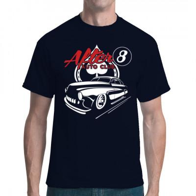 Cooles Hot Rod Motiv: Der After 8 Club hat für euch geöffnet. Kommt vorbei, präsentiert euren Hot Rod und spielt eine Runde Poker oder Billard.  Übergroßes Motiv, Motivgröße 12x14 Zoll