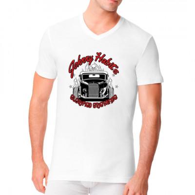 """Cooles Hot Rod - Motiv mit dem Schriftzug: """"Johnny Habit's glorified grievance"""". Hot Rods, Flammen und Todenschädel, braucht man mehr?"""