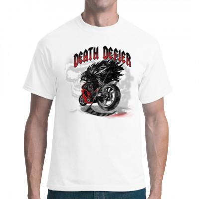 Cooles Biker - Motiv: Death Defier Wer sagt denn, dass man den Tod fürchten muss? Sogar der Tod hat keine Angst vorm Tod und setzt sich auf eine Rennmaschine.  Übergroßes Motiv, Motivgröße 13x14 Zoll