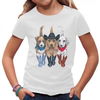 Shirt-Motiv: T-Shirt Western Hunde Welpen  3 süße Comic-Hunde im Westernlook. Mit Cowboystiefel und Cowboyhut sowei Halstuch, Dalmatiner Welpen mit seinen Freunden trapen durch die Prerie  Motivgröße ca. 25x30 cm