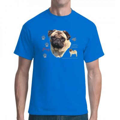 T-Shirt: Mops Hund, MOTIVE P - Z, Tiere, Tiere & Natur, Hunde, Hunde