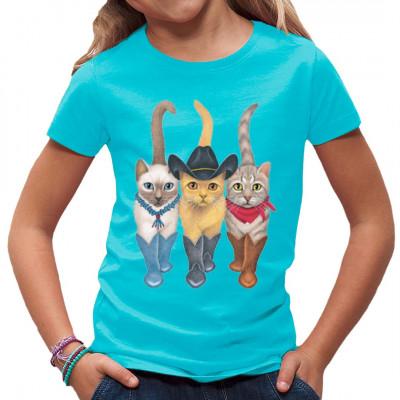T-Shirt Motiv: 3 Western Cats  3 süße Cowboy Katzen. Das perfekte Motiv für Katzen Liebhaber.