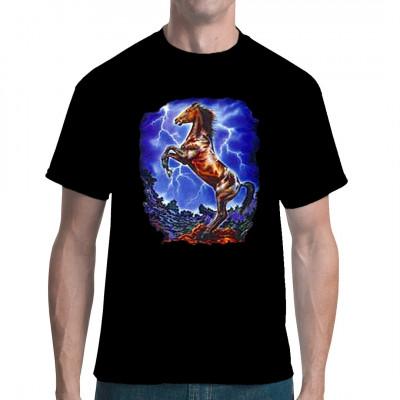 Pferd im Gewitter Fashion Shirt Motiv für Tierliebhaber Motivgröße: 33 x 27 cm