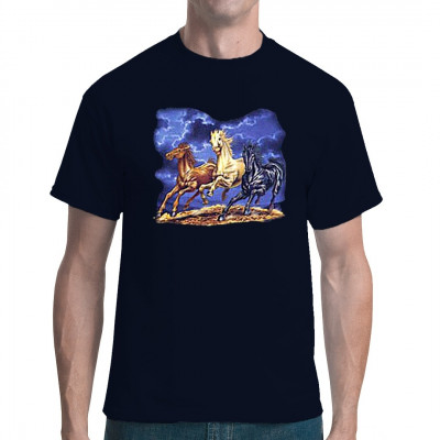 Rassepferde vor einem Sturmhimmel Cooles T-Shirt Motiv für alle Pferdeliebhaber. Motivgröße: 30 x 33 cm