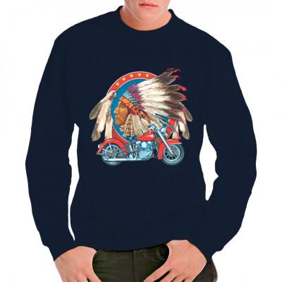 T-Shirt - Motiv: Indianerkopf mit Motorrad