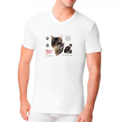 T-Shirt - Motiv: Maine Coon Rassekatze Perfekt für Katzen-Fans.
