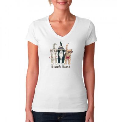 T-Shirt Motiv: Strand Katzen  Lustiges Katzen Motiv. 3 Katzen in Strandkleidung. Tolles Motiv für kleine und große Katzenliebhaber.