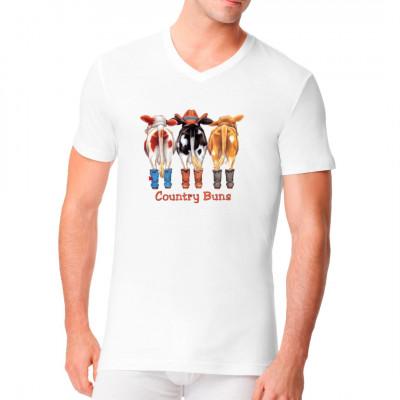 Hinterteile von Kühen mit Cowboy Hüten. Funny Shirt Motiv