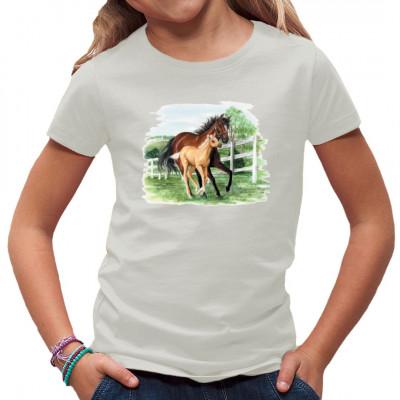 Tiermotiv: Pferd mit Fohlen auf der Koppel