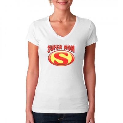 Super Mom Logo Motiv mit einem Super Logo. Das ideale Geschenk zum Muttertag für die super Mütter als V-Neck, T-Shirt oder Sweatshirt.