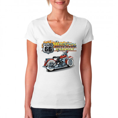 T-Shirt - Motiv: Americas Highway - Route 66 mit altem Chopper