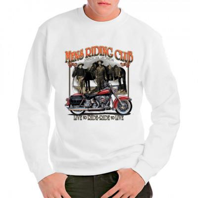 T-Shirt Motiv: Mens Riding Club Cooles Biker Motiv mit rotem Chopper im Vordergrund und im Hintergrund zwei Cowboys. Darunter der Schriftzug Live to Ride - Ride to Live. Das perfekte Motiv für jeden Fan der legendären amerikanischen Zweiräder.