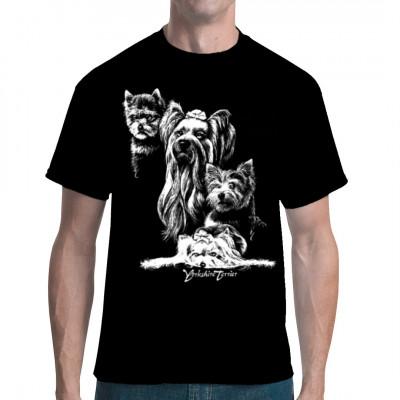T-Shirt - Motiv : Yorkshire Terrier Hund Silhouette