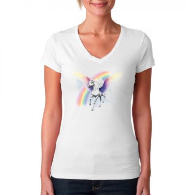 Airbrush Style T-Shirt: Pegasus vor einem Regenbogen Dieses fliegende Pferd ist definitiv cooler als ein Einhorn!
