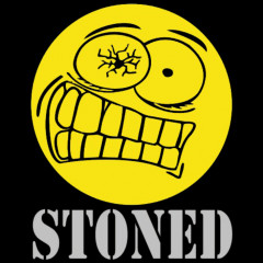Stoned Smiley, Drogen, FUN Shirt, lustiges Motiv