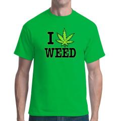 Fun Shirt und Kiffer Motiv: I Love Weed