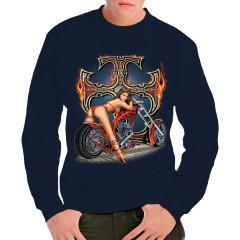 Pin-Up: Biker-Girl mit brennendem Eisernen Kreuz