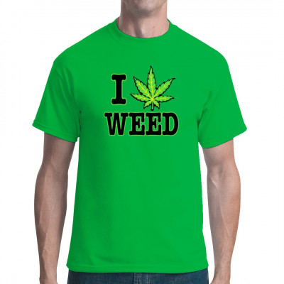 Fun Shirt und Kiffer Motiv: I Love Weed