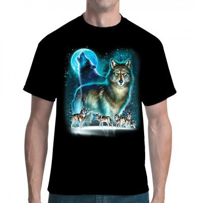 Wolfsrudel das den Mond anheult