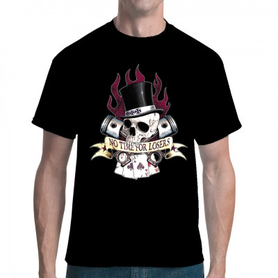 No Time Losers Biker Skull Hot Rod Poker