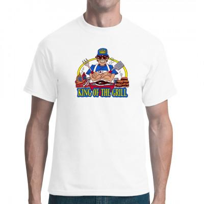 Fun-Shirt Motiv: King of the Grill, Grillen, Comic