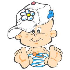 Kindermotiv - Baby mit Mütze