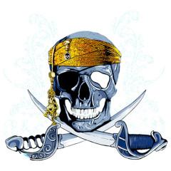 Piratenschädel mit Säbeln