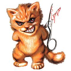 Garstiges Kätzchen mit Schere