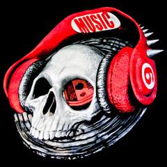 Schädel und Kopfhörer