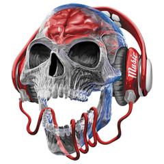 Totenkopf mit Kopfhörern